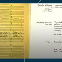 Vandaag is er geen live concert, daarom een herhaling uit het Matinee-archief: een zeer bijzondere operaproductie die onlangs boven water is gehaald, van Tsjaikovski's opera Tsjarodejka (De tovenares), integraal uitgevoerd door het Radio Filharmonisch Orkest & Groot Omroepkoor o.l.v. Valery Gergiev op 18 januari 1992, uiteraard met een sterrencast. Larissa Zyrianova verving op het laatste moment Natalia Saparova in de rol van Nastasia.<br><br><p> Radio Filharmonisch Orkest<br>Groot Omroepkoor<br>Valery Gergiev - dirigent</p> <p> Valery Alexeev - bariton (Vorst)<br>Ludmila Shemchuk - mezzosopraan (Vorstin)<br>Gegam Grigorian - tenor (Prins Joeri)<br>Mikhail Kit - bas (Mamirov)<br>Susan Kessler - mezzosopraan (Nenila)<br>Sergei Aleksashkin - bas (jager)<br>Larissa Zyrianova - sopraan (Nastasia)<br>Igor Morozov - bariton (Foka)<br>Marina Zhukova - sopraan (Polja)<br>Hubert Delamboye - tenor (Balakin)<br>Gennady Pinyazhin - bas (handelaar)<br>Graire Hanedanyan - tenor (handelaar)<br>Jaco Huijpen - bas (bokser)<br>Konstantin Pluzhnikov - tenor (zwerver)<br>Igor Morozov - bariton (tovenaar)</p> <p><strong>Tsjaikovski</strong>Tsjarodejka (De tovenares)<br></p>